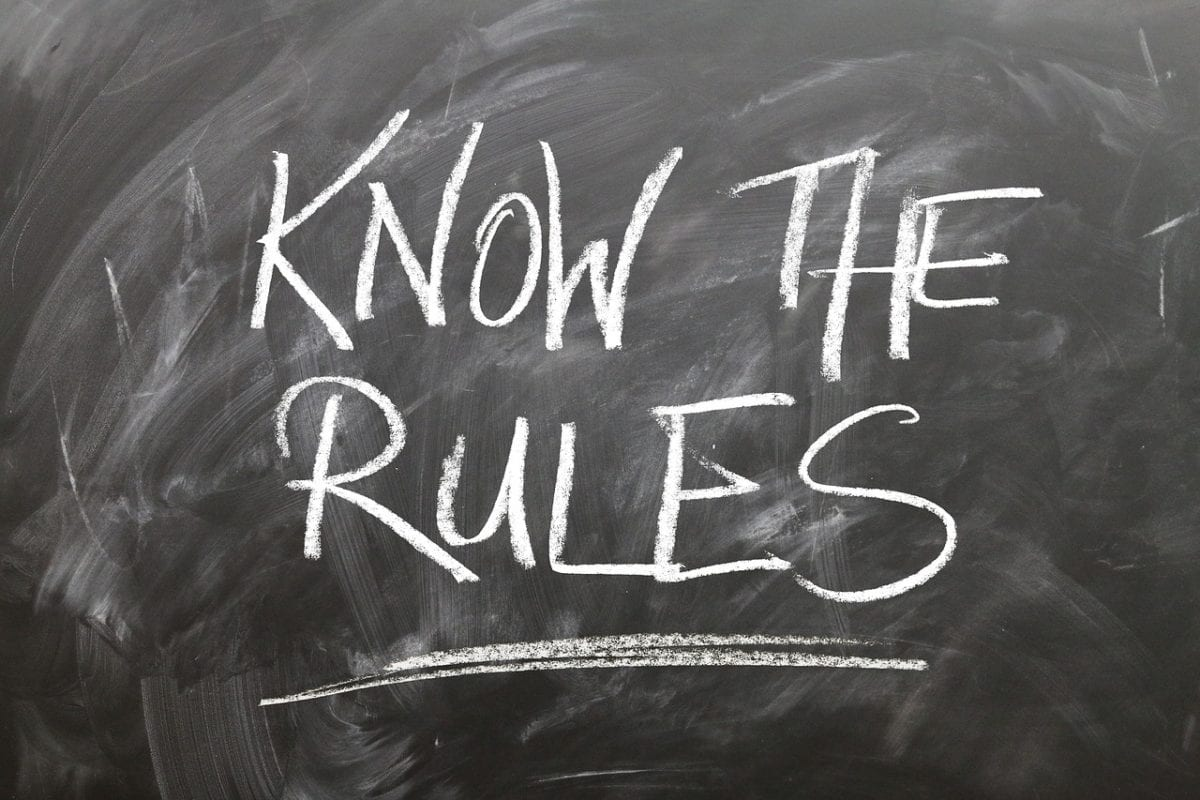 "Black board with writings ""Know the Rules"""