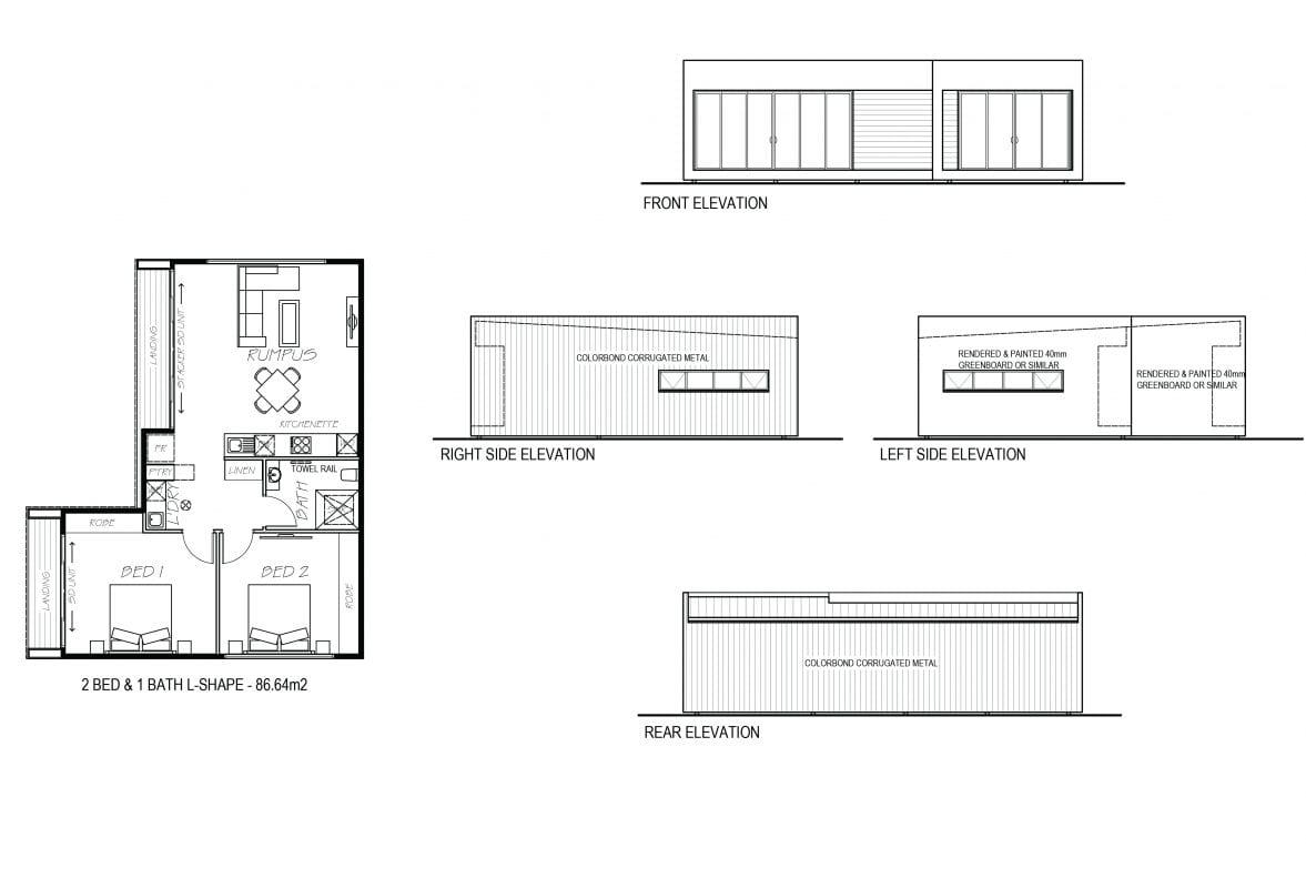An image showing sketch of 2 bed & 1 bath L shape with their elevation design